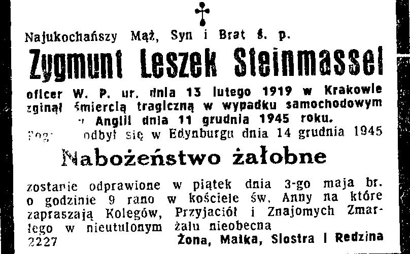 Nekrolog Zygmunta Leszka Tadeusza Steinmassela