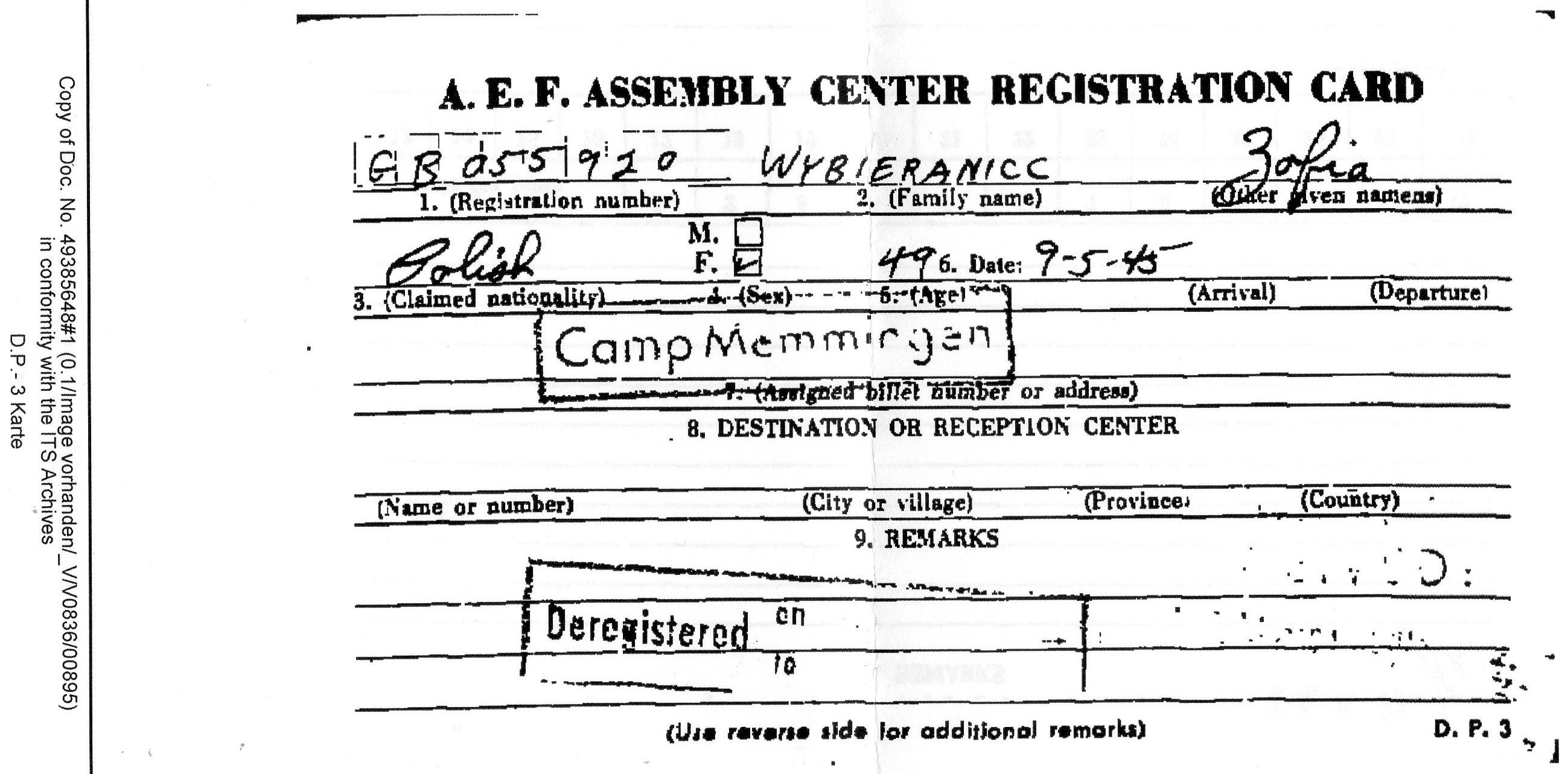 Karta pobytu w obozie Memmingen Zofii Wybieraniec