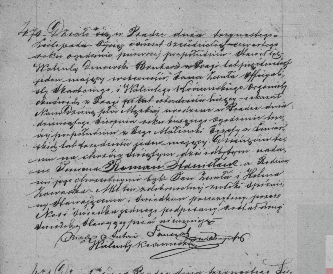 Akt chrztu Romana Dmowskiego