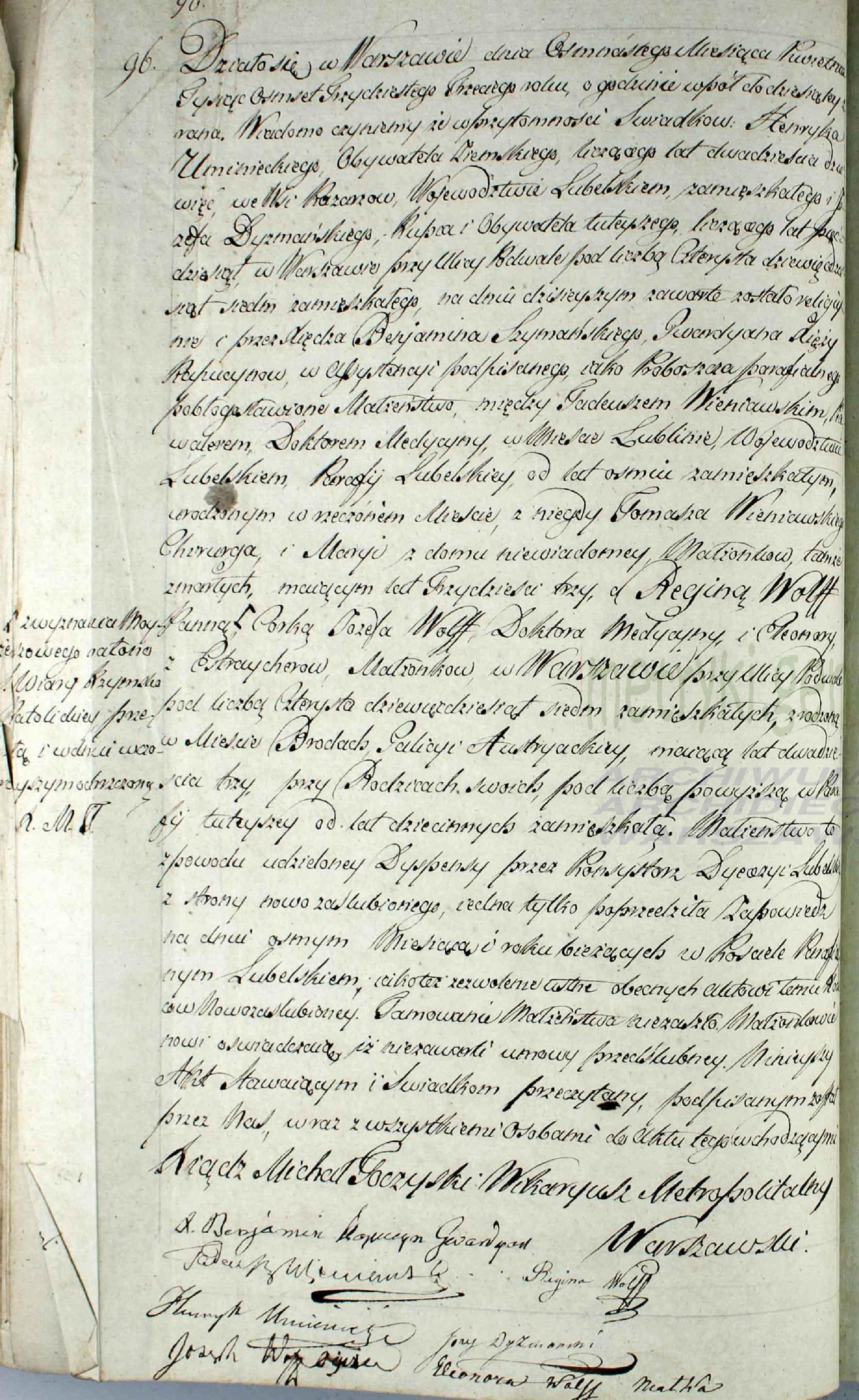 Akt ślubu Tadeusza Wieniewskiego i Reginy Wolff