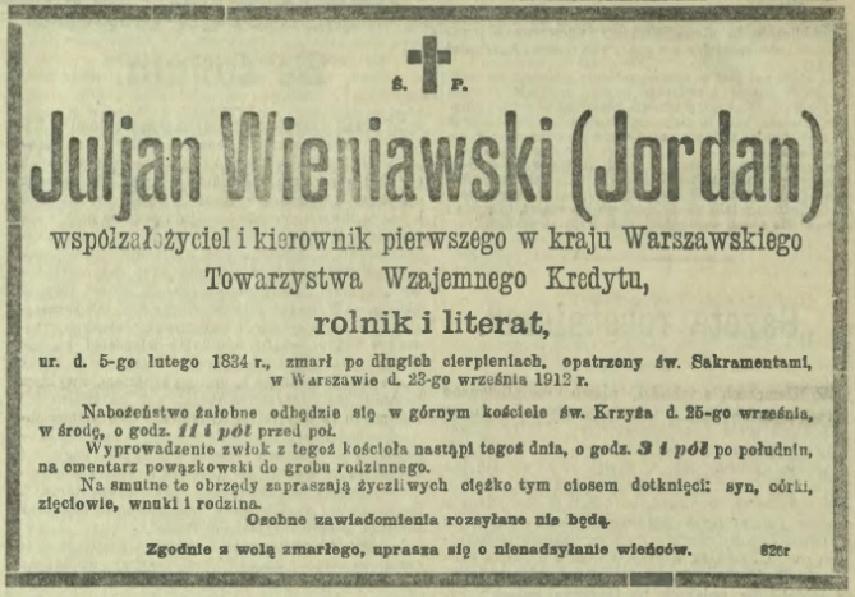 Nekrolog Juliana Wieniawskiego /fot. eBUW