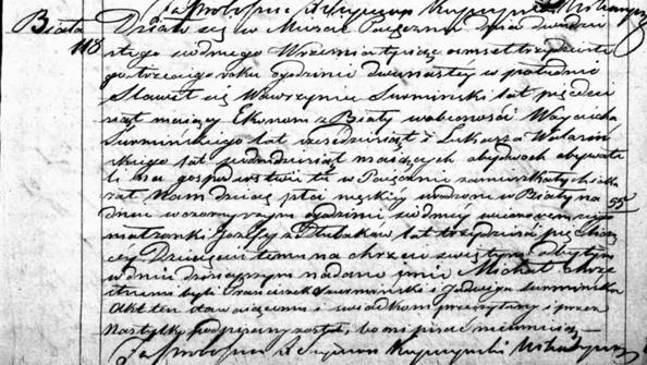 Akt urodzenia Michała Szurmińskiego, rzekomego powstańca listopadowego/ fot. metryki.genealodzy.pl