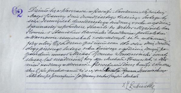 Akt zgonu Michała Romana Szurmińskiego, parafia NMP/ fot. Justyna Krogulska
